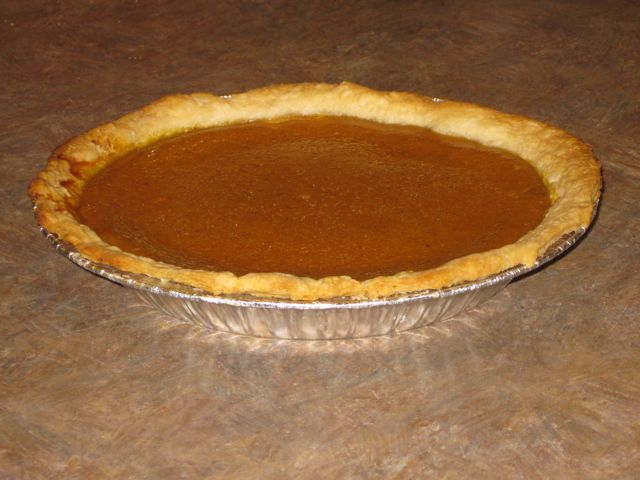 Pumpkin pie made a day ahead.