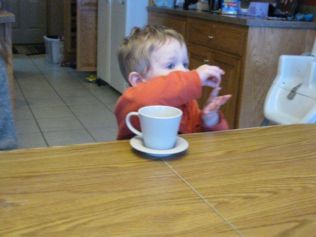 """Daniel signing """"Tea""""."""
